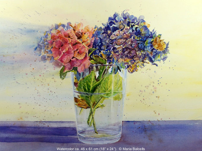 HORTENSIEN BOUQUET- AQUARELL