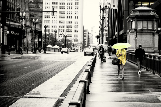 Lonley Girl with Yellow Umbrella, USA, 2015