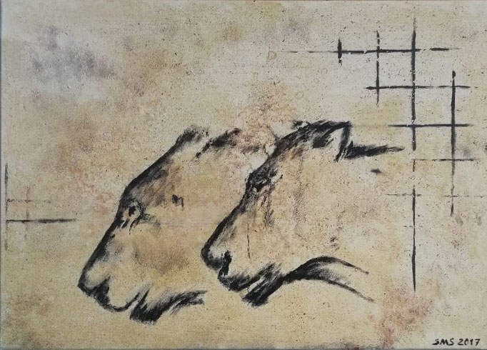 Höhlenlöwen 2018, Acryl auf Leinwand 50x70