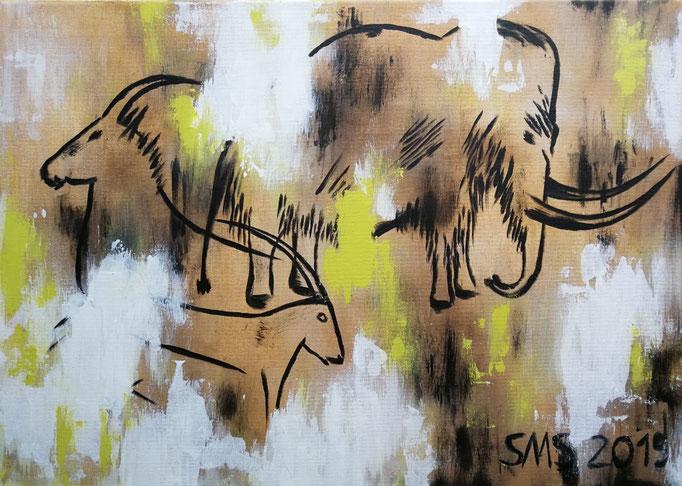 Mammut mit Steinböcken 2019, Acryl auf Leinwand 50x70, vergeben