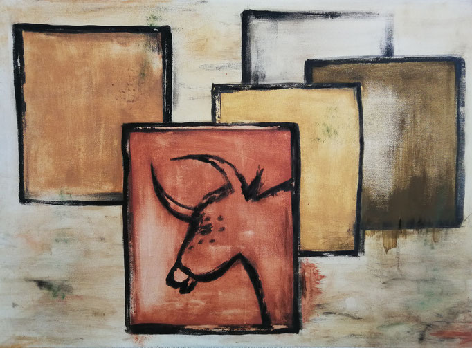 Auerochse 2018, Acryl auf Leinwand 50x70, 320,-€