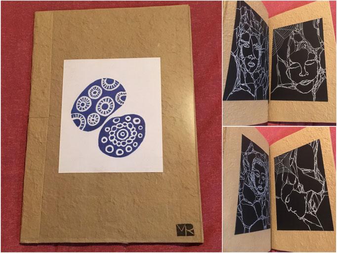 Libro de artista. Técnica: dibujos con tinta blanca sobre papel reciclado. Medidas: 21 x 30,5. 65 € +  gastos de envío.