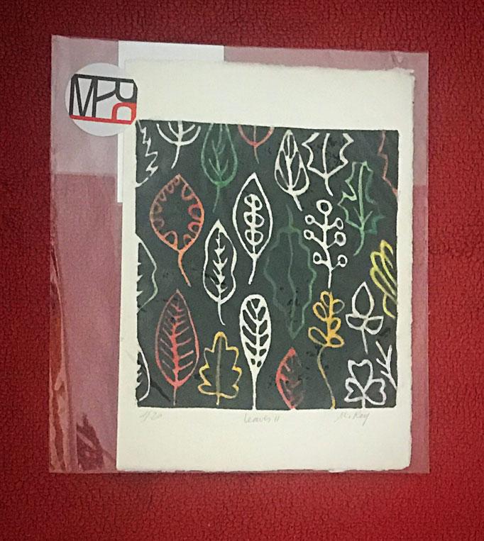Linograbado.  1/20. Serie Leaves. Medidas: 15,5 x 21,5. Soporte: papel de grabado. Sin enmarcar. 30 € + gastos de envío.