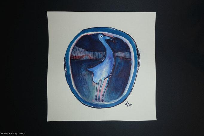 Flamingo   2021   Mischtechnik auf Papier   ca. 20 x 20 cm   72 Euro