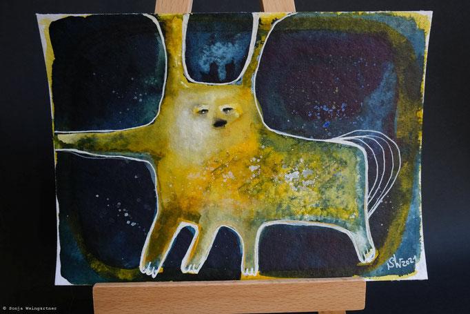 Gelbes Wesen No.1 | 24 x 17 cm | Mischtechnik auf Papier | 125 Euro