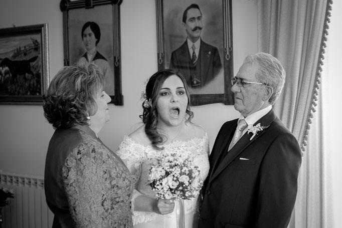 Braut mit Brautvater und Brautmutter