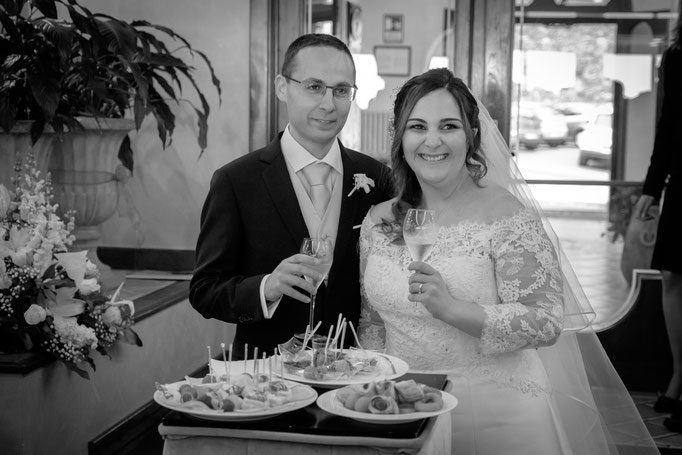 Stehempfang Brautpaar
