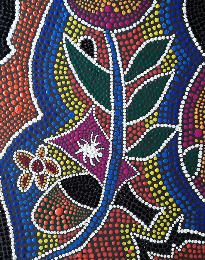 Mit einem Pinsel und etwas flüssigeren Farben wirken die Punkte wie Perlen Mai 2017