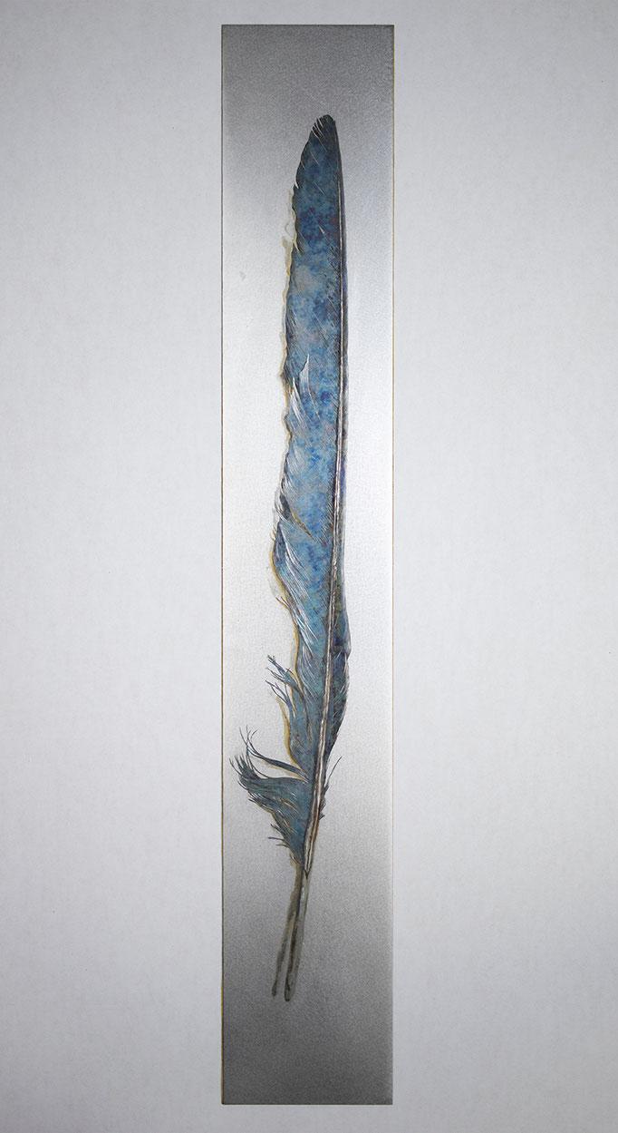 斬り捨てた碧い過去 Decapitated Past in Blue H380×W60 mm