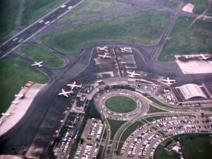 View of Newark Airport from the plane flying Meher Baba in 1956 -  Image captured by Anthony Zois from a film by Sufism Reoriented.