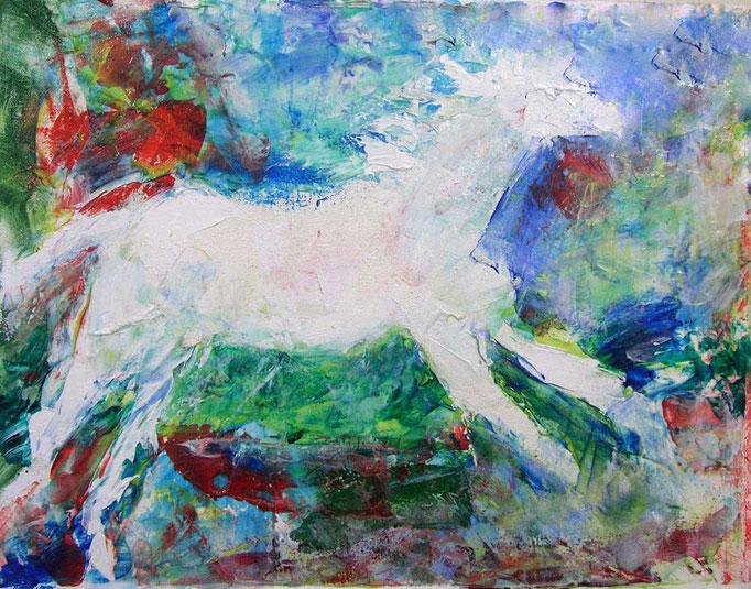 """1990-2 ; White Horse - 14""""x18"""""""