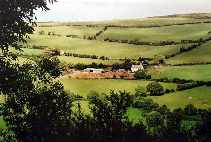 Distant view of the property at East Challacombe, Devon. Courtesy of Anne Ross.
