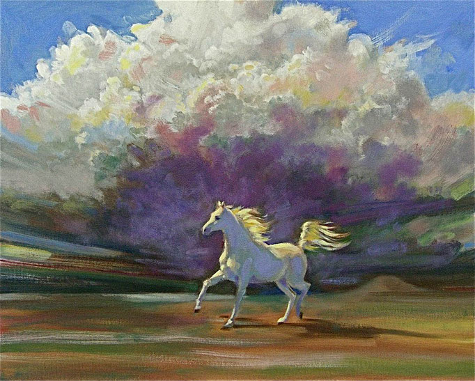 "2013 ; White Horse - Oil - 24""x30""- Courtesy of Michael and Linda Goldman"