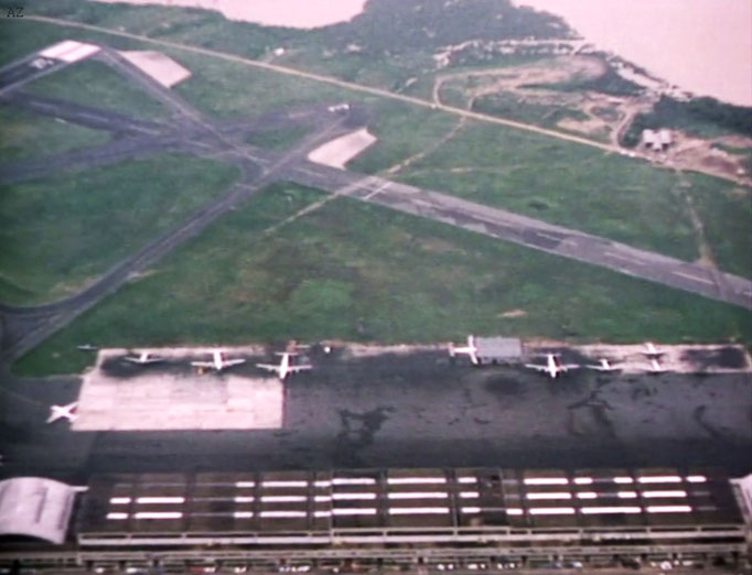 View of Newark Airport NY from the plane. Image captured from a film by Anthony Zois