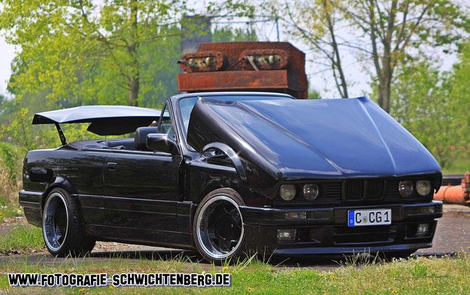 Ronny aus Chemnitz mit seinem perfekt gestylten E30 Cabrio