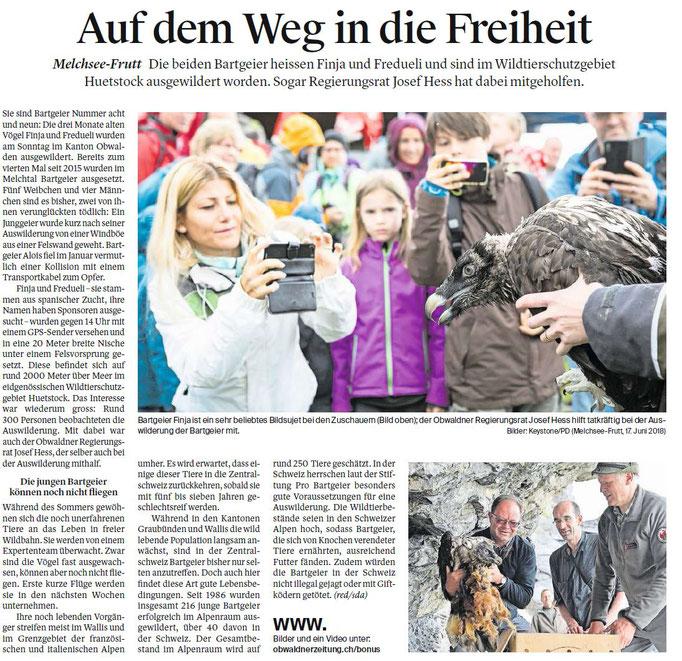 Obwaldner Zeitung vom 19.06.18
