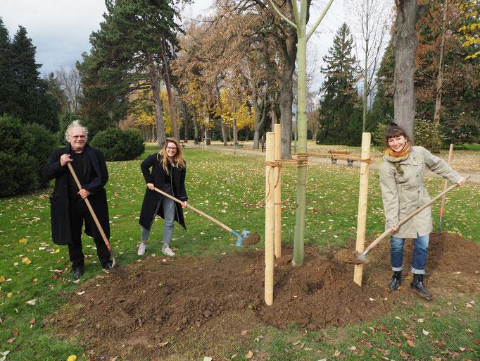 Pflanzung Baum der Poesie am 18.11.2016 - Jenny, Serrano, Stöcklin (v.l.)