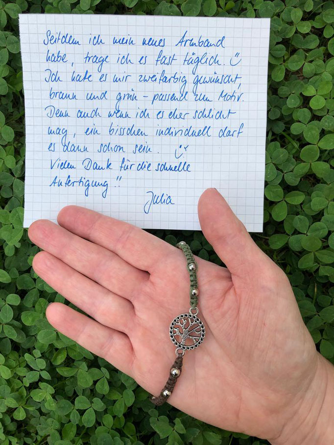 Best-Bewertung für Filigarna: Seitdem ich mein neues Armband habe, trage ich es fast täglich. Passend zum Lebensbaum-Motiv habe ich es mir zweifarbig, grün und braun gewünscht und es ist genauso geworden, wie ich es mir vorgestellt habe! Vielen Dank für d