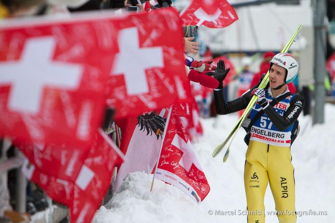 Vierfach-Olympiasieger Simon Ammann am Weltcup-Skispringen Engelberg 2010