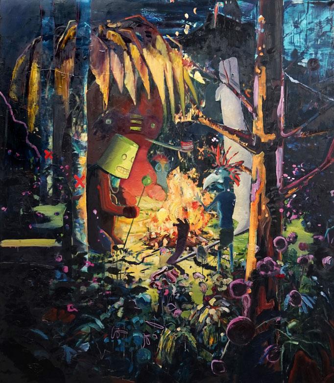 Philipp Kummer   wir haben Lieder   2020   oil on canvas    230x200 cm