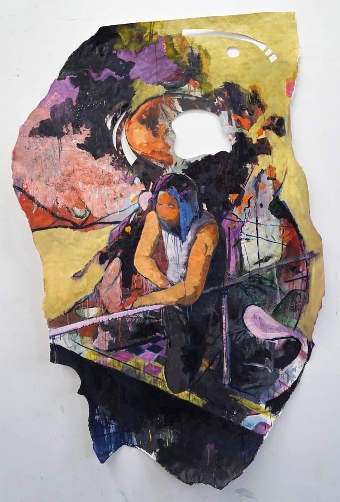 Philipp Kummer   hang your toes   Öl auf Papier   2021   ca.238x143cm