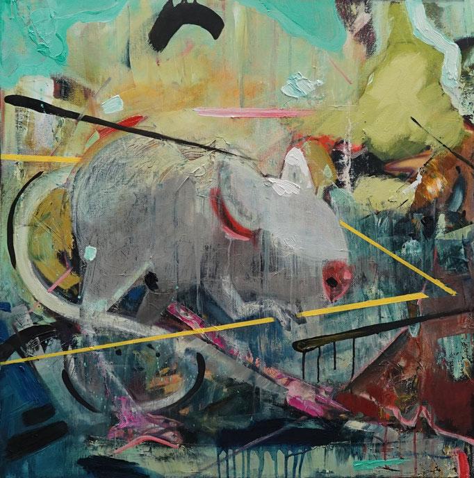 Philipp Kummer | ich bin schon draußen | 2020 | oil on canvas  | 80x80 cm