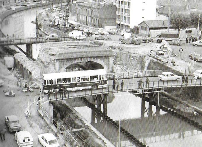 Travaux pour le nouveau pont vert 1969