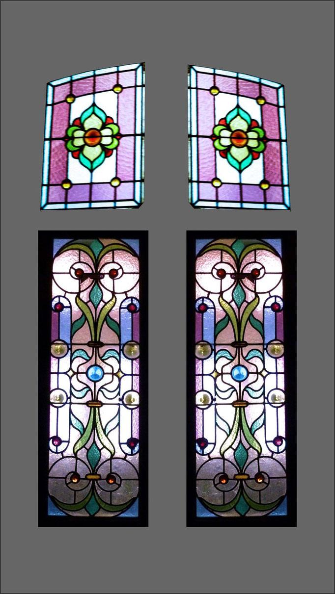 Reconstitution à partir de l'imposte et d'un des vitraux démontés suite au bris. Cre Philippe