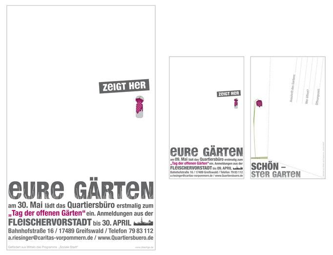 Plakat + Postkarte für das Quartiersbüro Fleischervorstadt HGW