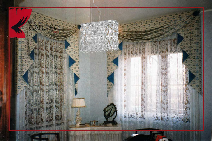 Tendaggi classici con mantovana - Atelier Tessuti Arredamento Tende ...
