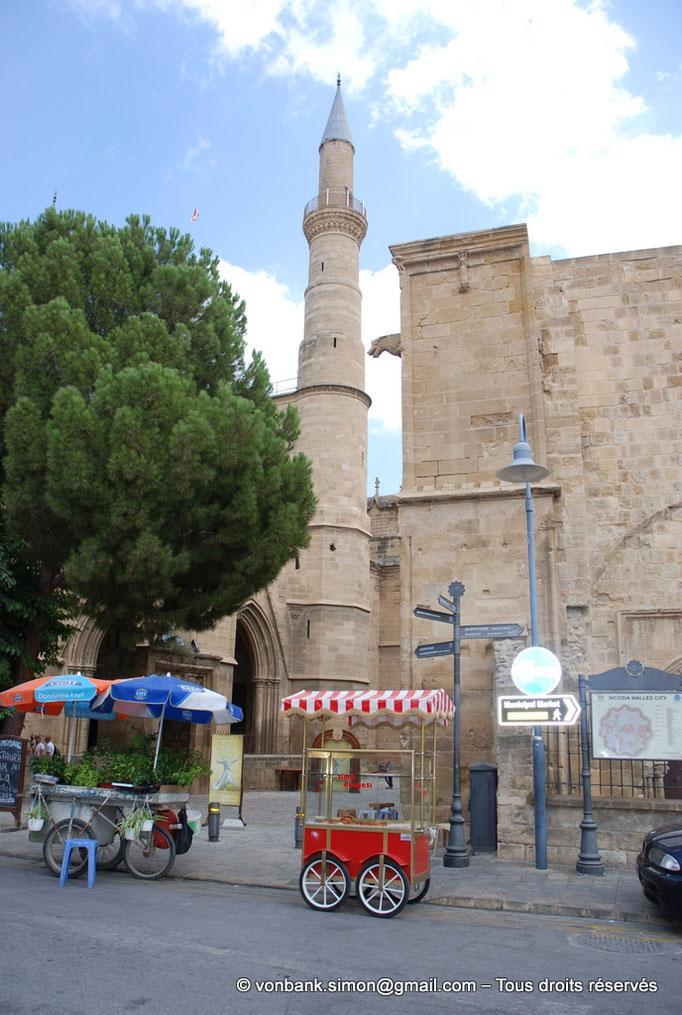 [NU905-2014-0307] Nicosie - Agia Sophia : Gargouille et pignon Nord de la façade de l'ancienne église Saint-Nicolas, son porche ayant disparu - en arrière-plan, minaret construit sur la tourelle d'escalier Sud
