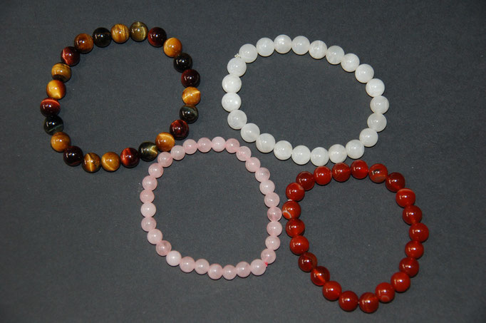 Bracelets : Mélange Œil de Tigre 3 couleurs - Pierre de Lune - Quartz Rose - Cornaline
