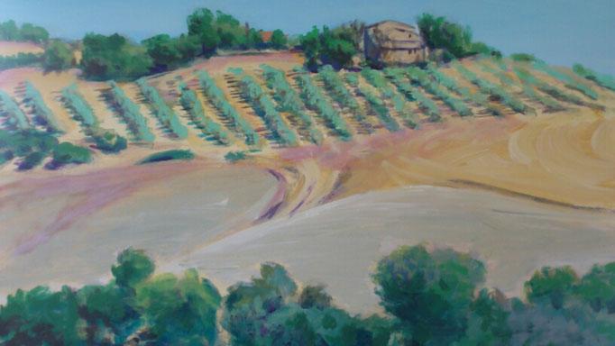 """""""Hügel bei Volterra (Toscana)"""", Acryl, 60x50cm, 2014"""