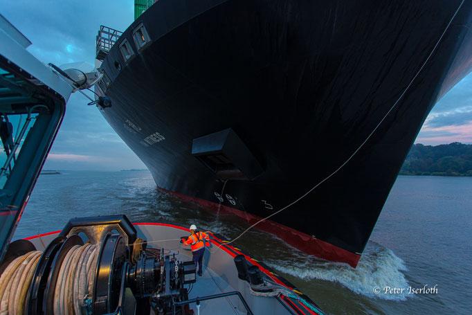 Schlepper übergibt Trosse , Hafen Hamburg, Deutschland