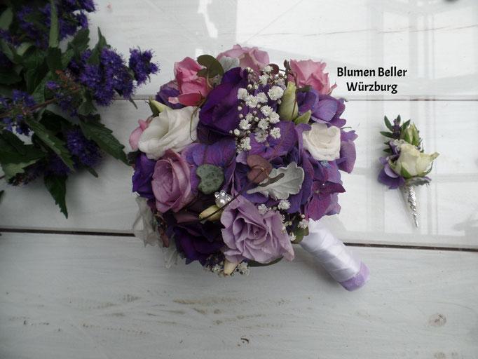 Brautstauß lila/rosa/weiß