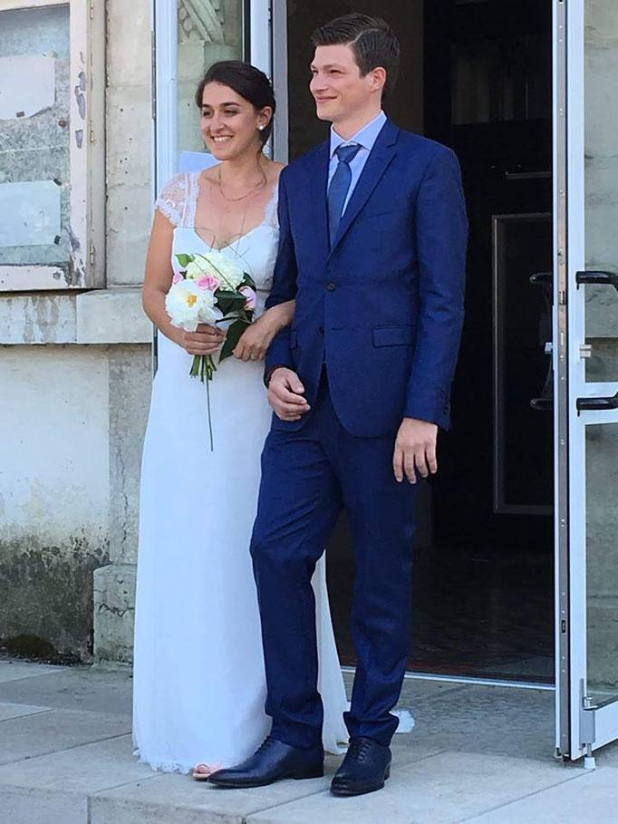 Robe de mariée dentelle et mousseline Sylvie Berry couture