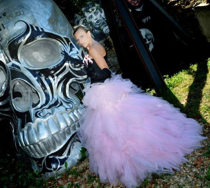 Corset en satin noir et jupe de tulle rose Création Sylvie Berry Couture