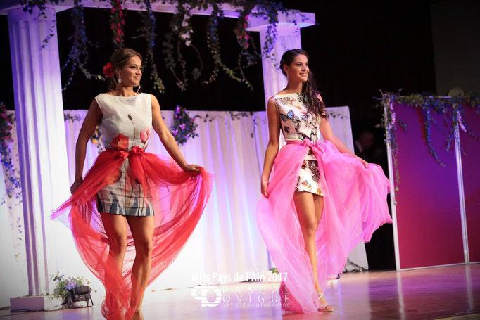 Robe courtes sur mesure en imprimé fleurs et tulle coloré Création Sylvie Berry Couture