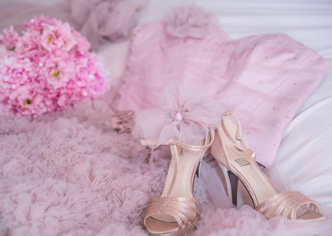 Détails de la robe de Mariée rose poudrée création Sylvie Berry Couture