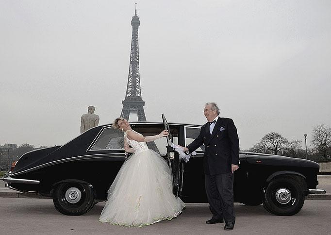 Robe de mariée en tulle et macramé ivoire création Sylvie Berry Couture