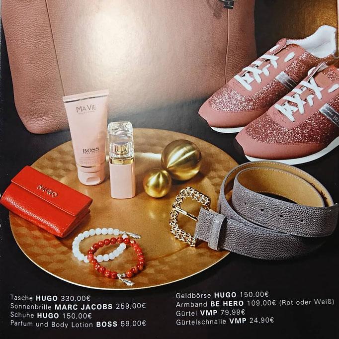 eine Abbildung aus dem Magazin von EGOIST mit den Produkten von BEHERO, Hugo, Boss und Marc Jacobs