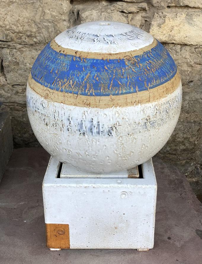 Keramik Brunnen, Brunnenkugel ø ca. 35 cm Santorin glasiert, Becken ca. 25 x 25 x 20 cm weiss natur glasiert