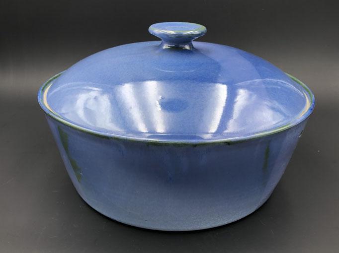 Keramik, Brottopf Dekor Blick ins Meer ø ca 34 cm h ca. 11,5 cm