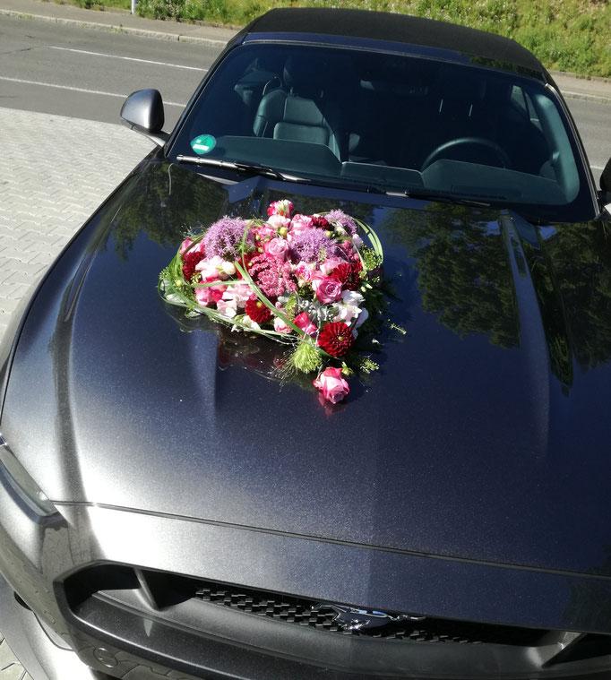Autoschmuck mit Herz in rosa