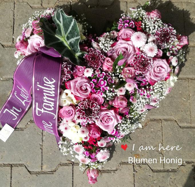 Herz in Flieder und rosa