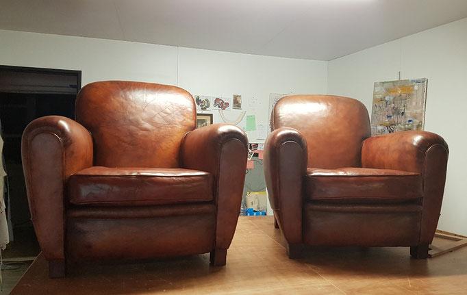 marylinegrac-tapissier d'ameublement- Fauteuils CLUB entièrement rénovés