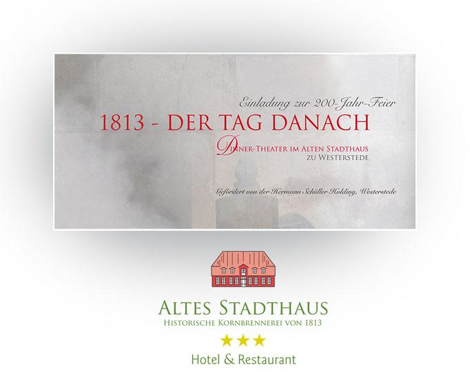 Einladungs- und Menükarten zur 200-Jahr-Feier im Hotel Altes Stadthaus.