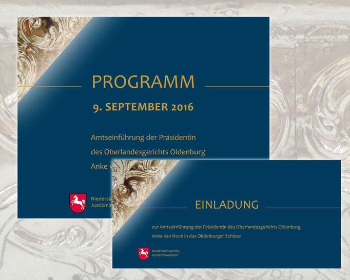 Einladung und Programm zur Amtseinführung der Präsidentin am Oberlandesgericht Oldenburg, Anke van Hove.