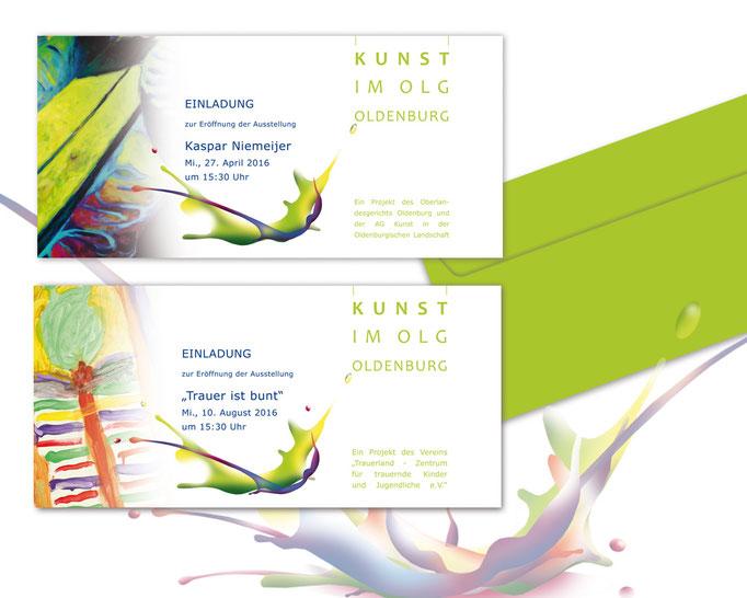 Corporate Design der Einladungen zu Kunstausstellungen im Oberlandesgericht Oldenburg. Illustrationen MWD Design. Werbung.