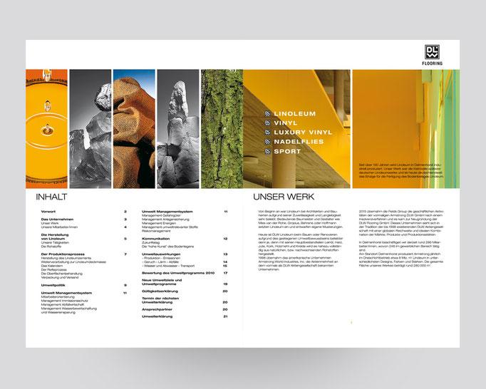 DLW Flooring Umweltbroschüre. Das Linoleumwerk stellt sich vor.